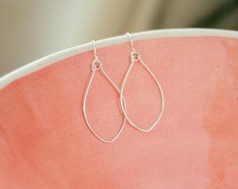 Silver Leaf Oval Hoop Earrings