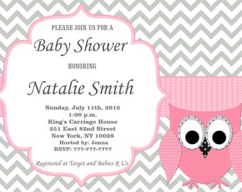 Owl Baby Shower Invitation Girl Baby Shower invitations Printable Baby Shower Invites -FREE Thank You Card - editable pdf Download 554 rose