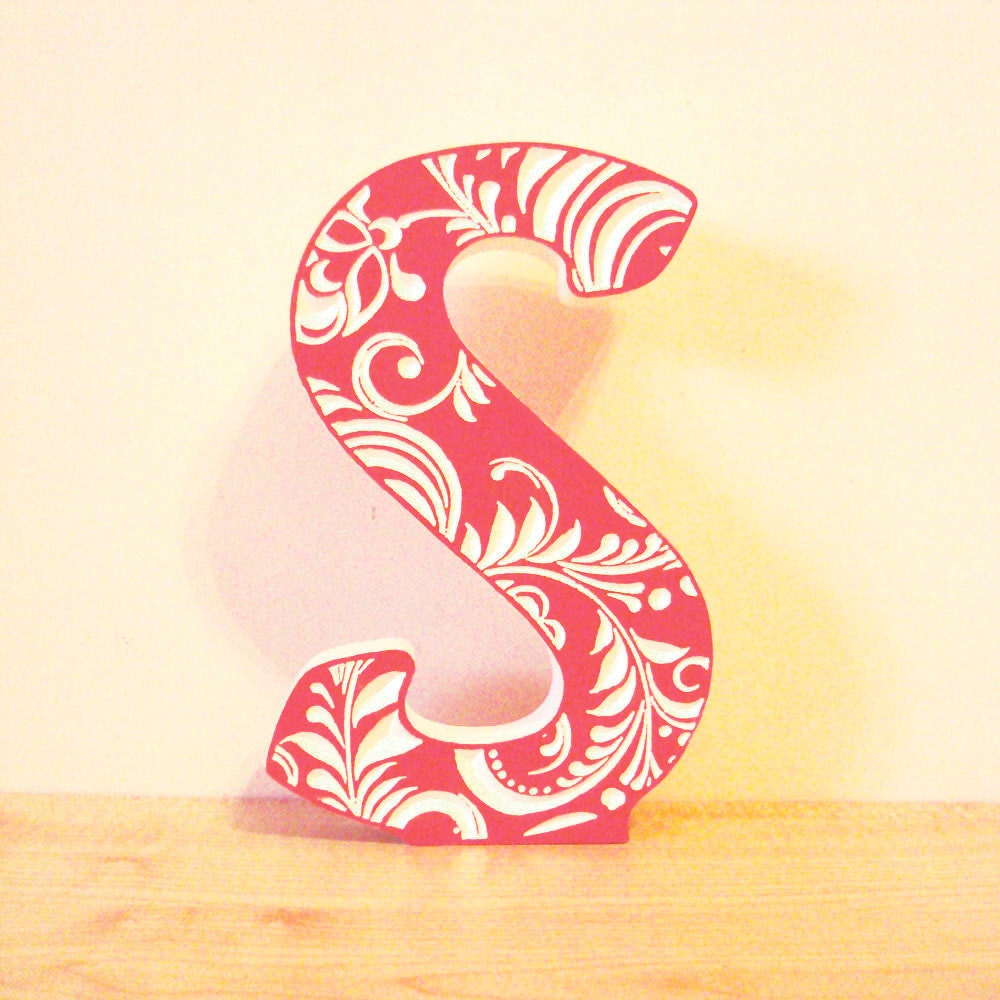 coral letter s 10 inches wooden letter home decor red s pp0521 alphabet medieval initial letter m chic sign bar