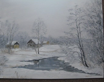 Painting - Winter landscape in Oil/canvas/landscape/wall art/wintwr painting/