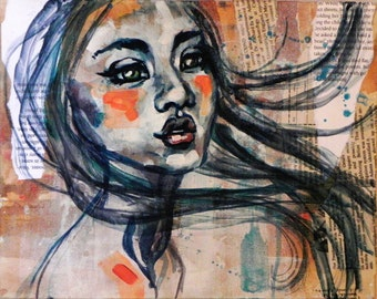 Blush, PRINT, Mixed Media Painting