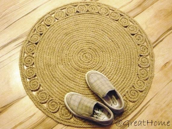 braided rug jute rug round rug crochet rug handmade by greathome. Black Bedroom Furniture Sets. Home Design Ideas