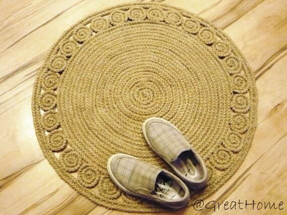 "Braided rug  Jute rug Round rug Crochet rug Handmade rug Floor decor 28"" Unique"