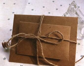 Brown kraft invitation card wrapper / kraft paper envelop in set of 10