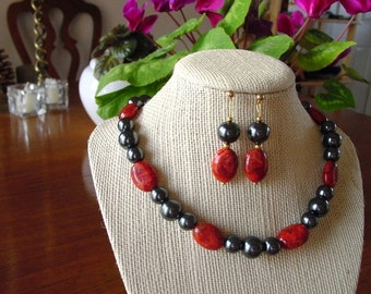 Black Pearl and Red Coral Necklace and Earring Set