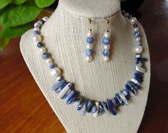 Sodalite and Pearl Necklace and Earring Set