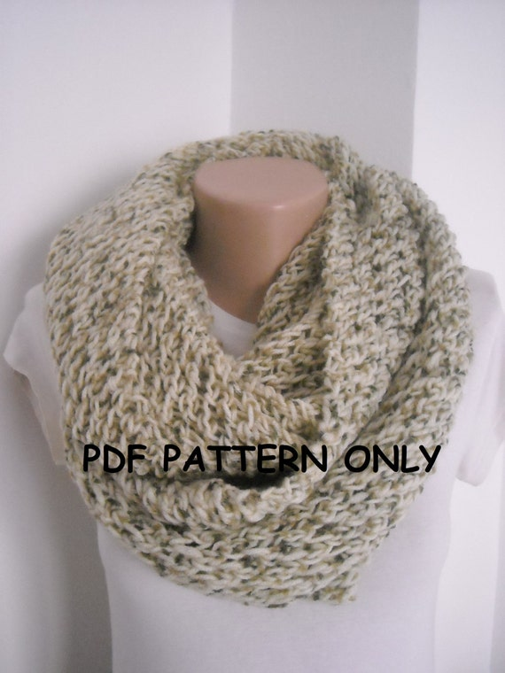 Knitting Pattern For Chunky Infinity Scarf : PDF pattern chunky beige knit infinity scarf PDF by AYTULGIFT