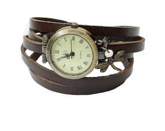 "Wrap Watch, Bracelet Watch, Wrist Watch, Vintage Watch ""Dragonfly"" Bracelet: dark brown"