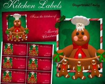 """Gingerbread Man """"Gingerbread Men"""" Kitchen Labels - Digital Download"""