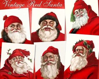 Vintage Red Santa - Digital Download