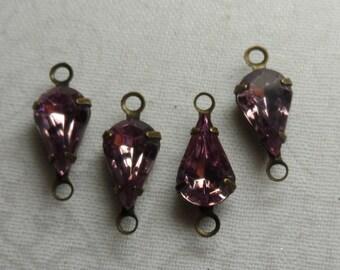 Swarovski crystal pear-shaped 10x6 rhinestone connectors,lt.amethyst,4pcs-SZD23