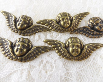 "Vintage gold or silver plate brass stamped cherubs,1&1/2""x1/2"",5pcs-KC132"