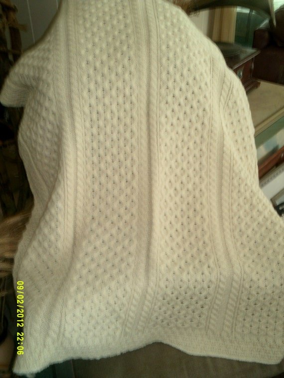 Vintage Wool Fishermans Cable Knit LapThrow/ Afghan- Made in Ireland