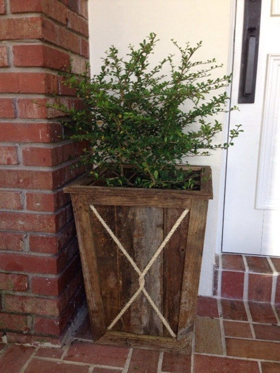 Items similar to reclaimed wood rope tapered planter on etsy for Tapered planter box plans