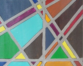 abstract painting,rainbow geometric pattern,original acrylic on stretched canvas