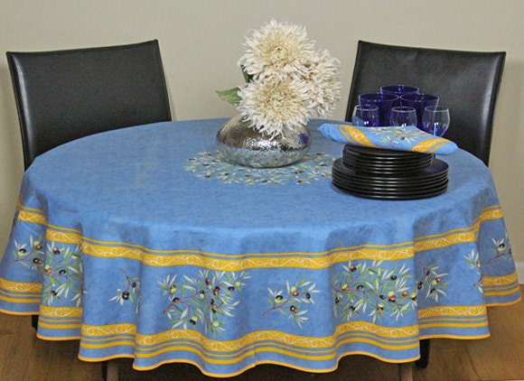 70 Inches Round Tablecloth Provence Acrylic Coated Olives In