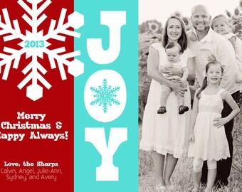Christmas Card, Photo, Digital, Turquoise, Red, Joy - Digital File