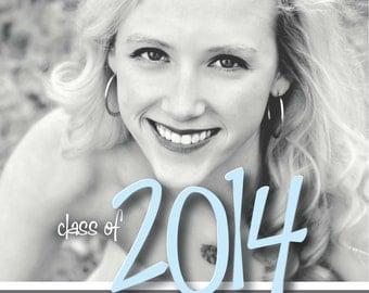 Modern Senior Graduation Invitation 2014 - black and white, blue, photo