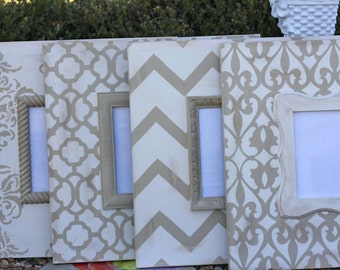 Chevron, Moroccan and damask distressed Frame Collage. colors: Mystique white, and Taupe.