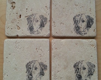 Natural Tumbled Marble Stone Labrador Retriever Coasters