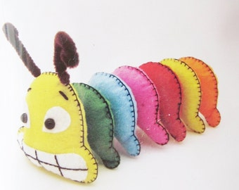 2 DIY Pre-Cut Felt Caterpillars, sew for kids, sewing kit, sewing pattern, craft kit, kids crafts, ShineKidsCrafts