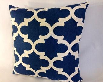 "Navy Blue and Ivory Lattice Trellis Accent Pillow Cover 'Fynn Cadet ', 18 x 18"""