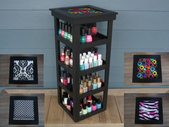 BLACK 4 Tier Tower Nail Polish Carousel