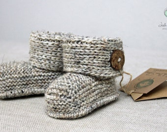 Hand Knitted Handmade Baby Booties Boots Ugg inspired Hand Knit Infant Booties Sizes 0-3m  3-6m 6-12m