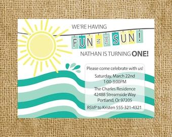 Fun In The Sun - First Birthday Invitation - Printable Invitation