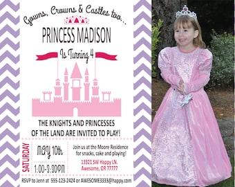 Princess Party Birthday Invitations - Second, Third, Fourth, Fifth, Sixth Birthday Invitation - Printable Invitation