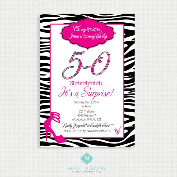 Printable Birthday Invitation- 50th birthday invitation- Party invite. Adult Surprise Birthday. Zebra. Printable digital DIY