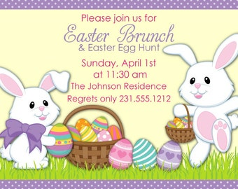 Easter Egg Hunt  Invitation - Easter Brunch Invitation You Print