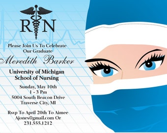 Printable Nursing Graduation Invitation -  Nursing School Grad Announcement