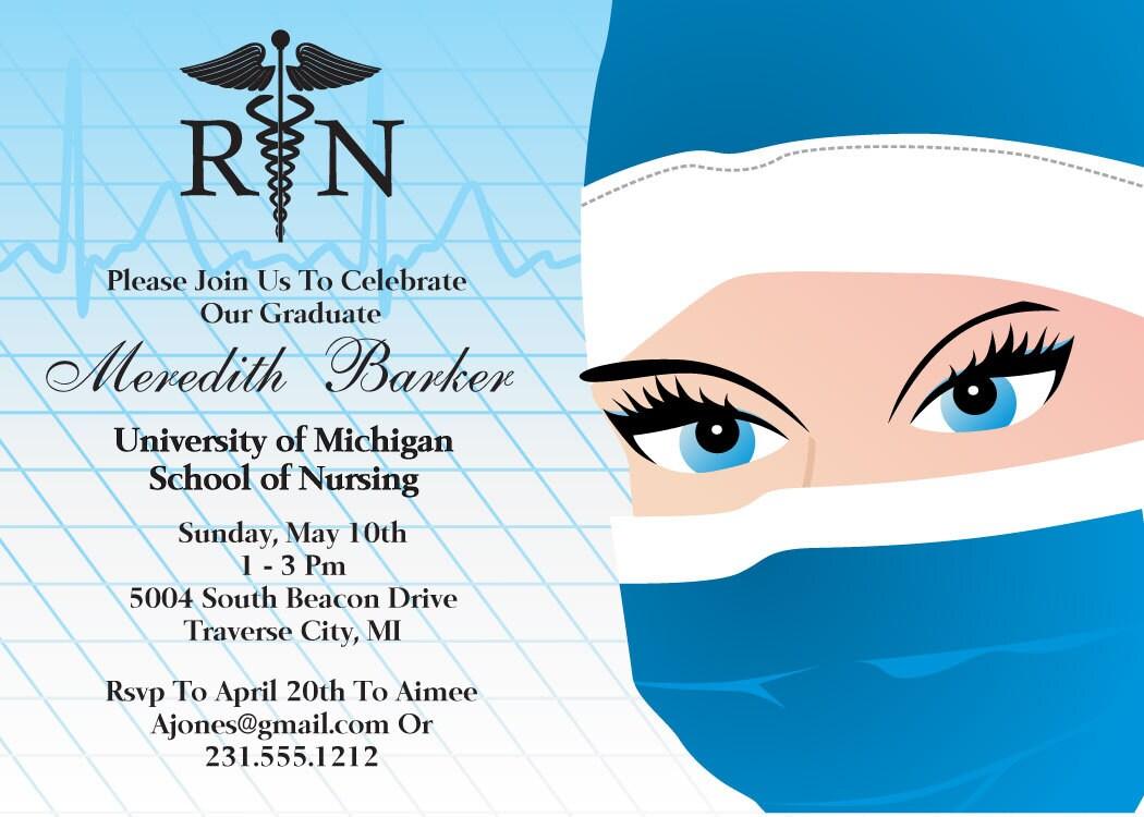 Printable Nursing Graduation Invitation Nursing School Grad – Nurse Graduation Invitations