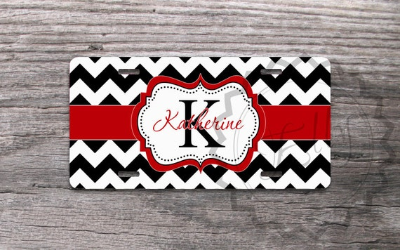 Cute License Plate Black Chevron With Pretty Red By