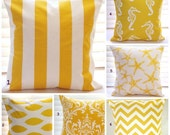 "FALL SALE Pillows, Yellow Pillow, Throw Pillows, Decorative Pillow, Beach Decor, Home Decor, Outdoor Pillows, Boat, Cushion, 1- 16"" x 16"""