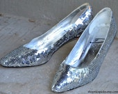 Silver Sequin Vintage Heels - ON SALE