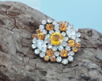 """Czech Amber Yellow Glass 1 1/4"""" Button"""