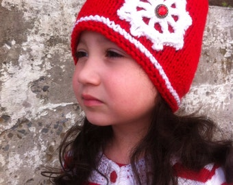 SALE Christmas hat / girl hat, red hat, toddler hat,