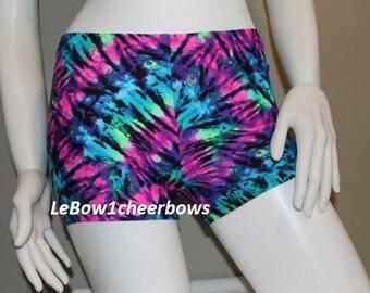 Spandex Shorts,Tie Dye,Pink,Blue,Green