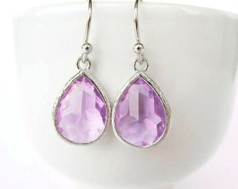 Lavender Glass Teardrop Earrings Light Purple Earrings Silver and Lavender Earrings Lavender Bridesmaids Jewelry Lilac Earrings Light Purple