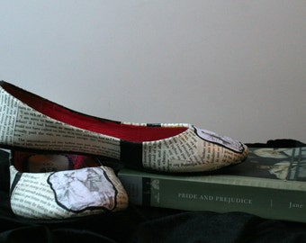 Pride and Prejudice Flats Jane Austen Wedding Flats Classic Literature Flats Literature Shoes Book Flats Book Shoes Book Wedding Flats