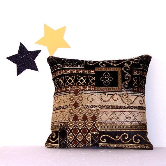 Decorative Black Brown Gold Tan Green Pillow Cover 16 X