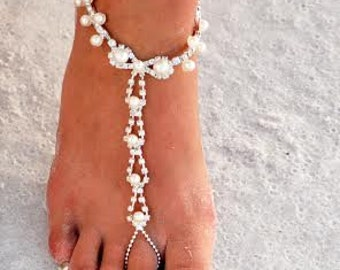 Rhinestone and Pearl Barefoot Sandals--on sale now!