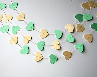 Wedding decor, Mint green & Ivory Heart garland, Mint green ivory garland, Mint wedding, Bridal shower decoration, Heart garland, KCO-3049