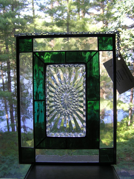 Stained Glass Panel Vintage Glass Plate Emerald Green