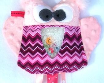 SALE pink OWL I  Spy bag, plush and cuddly