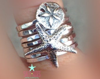 Sterling silver starfish and sand dollar ring summer ring set stacking stackable jewelry star fish