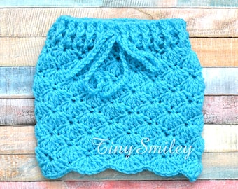 Turquoise Blue Baby Girl Skirt, Crochet Baby Skirt, Baby Girl Crochet Skirt, Newborn Skirt, Hospital Outfit, Coming Home Outfit, Baby Girl
