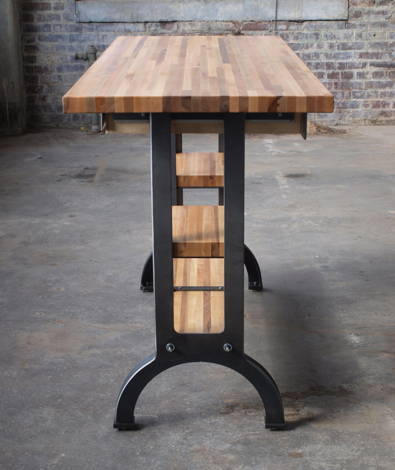 outstanding industrial kitchen island table | Maple Modern Industrial kitchen island metal machine base